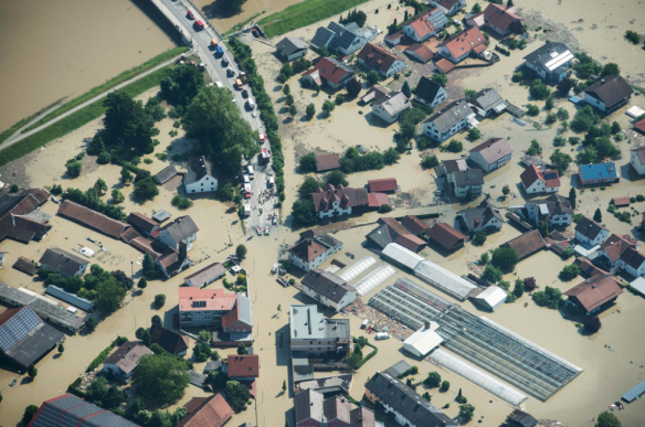 flooded area in Deggendorf, Germany